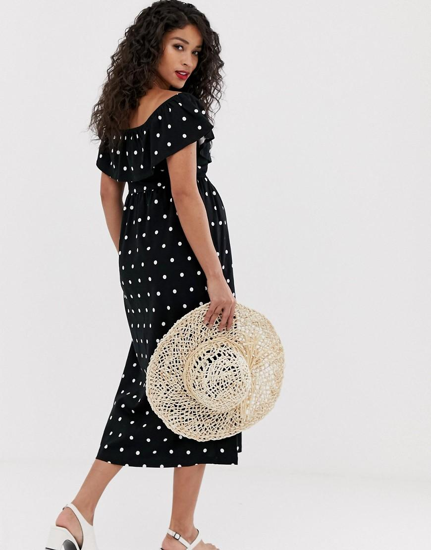 6e37ffe928 ASOS Asos Design Maternity Midi Button Through Sundress With Tiered Skirt  In Polka Dot in Black - Lyst