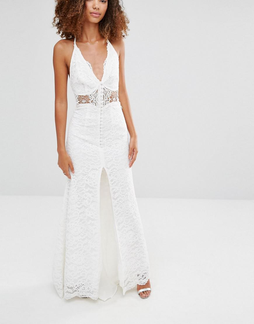 Jarlo Lace Eden Maxi Dress With Crochet Insert And Front Split in White