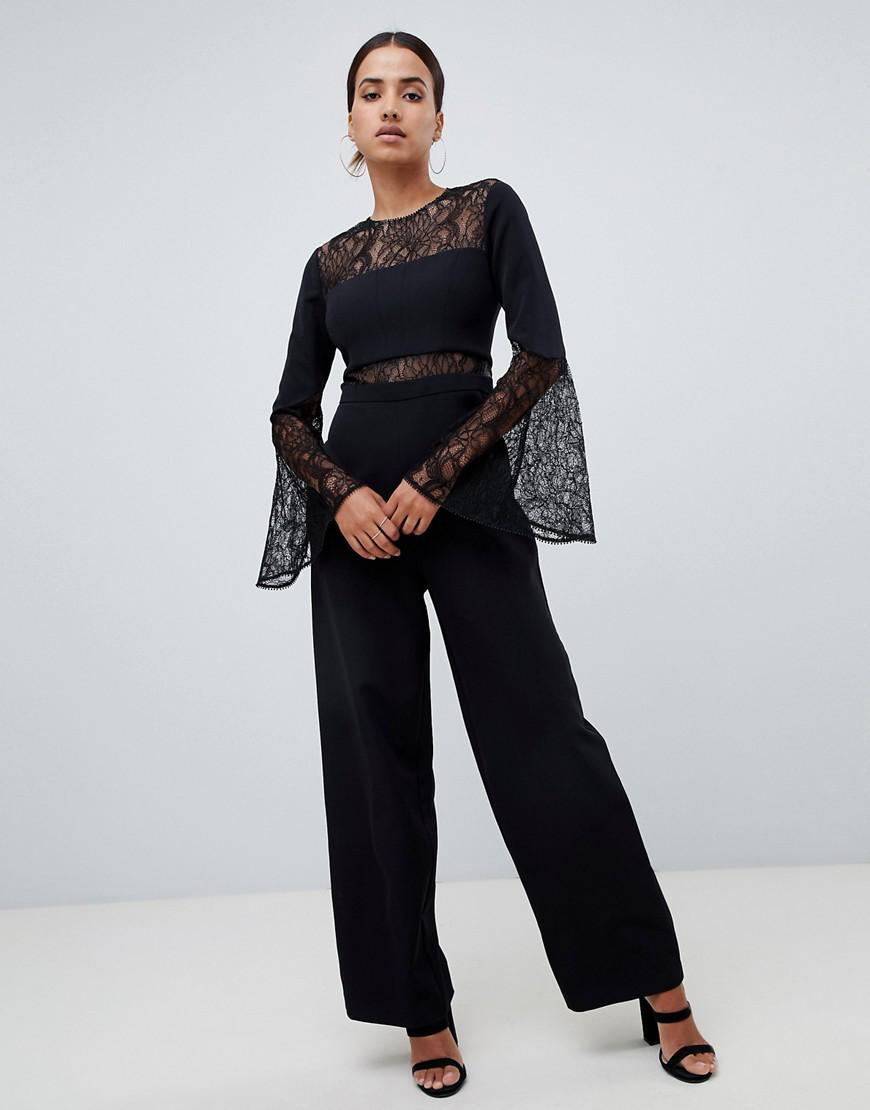 50b6a343965 Forever New Jumpsuit With Lace Details In Black in Black - Lyst