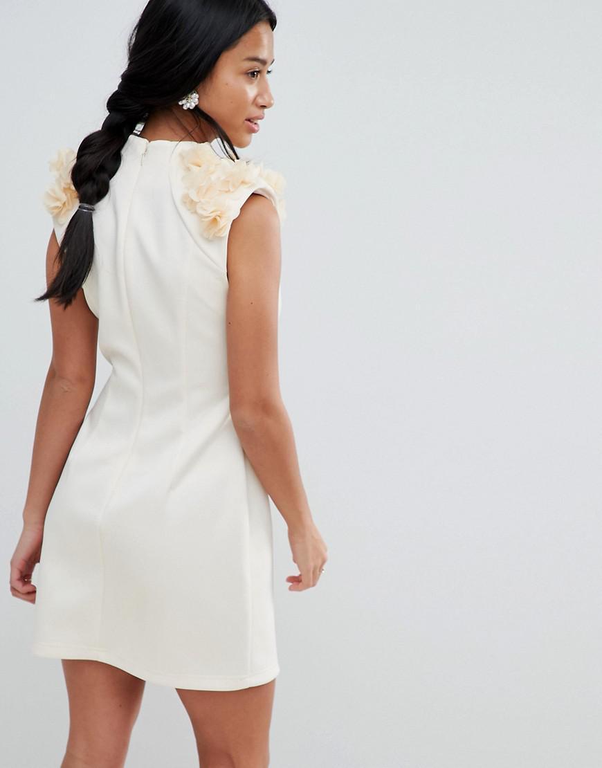 00a8f5155da Lyst - ASOS 3d Flower Shoulder Mini Shift Dress