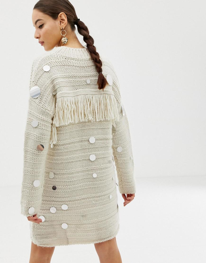 French Connection Embellished And Fringe Sweater Dress in Natural - Lyst d3382a444