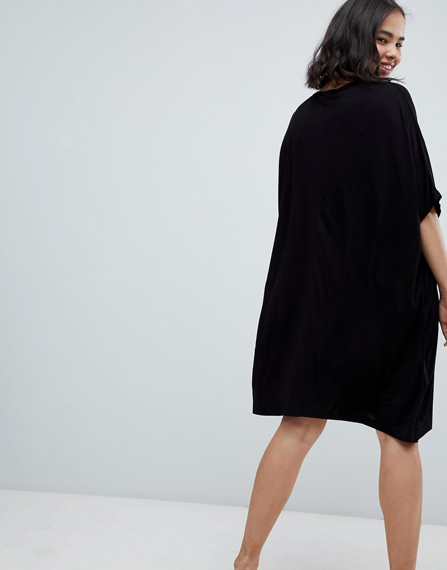 61d464c200 ASOS Asos T-shirt Dress With Batwing Sleeves And Chain Neck in Black - Lyst