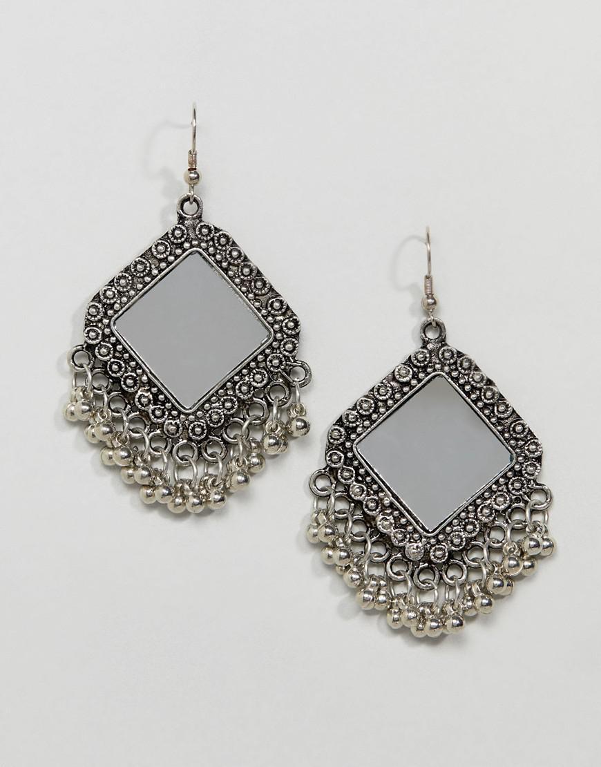 DESIGN Engraved Mirror Bead Drop Earrings - Silver Asos UcRv2jNqK