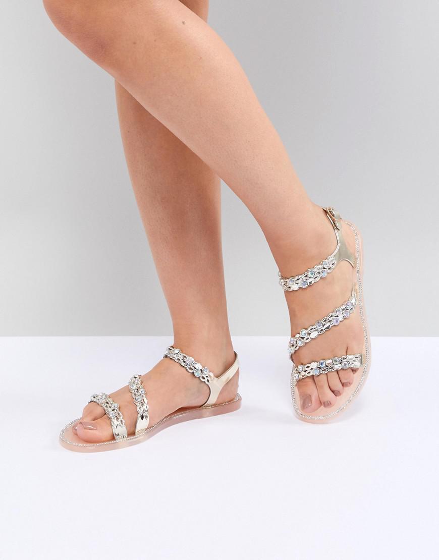Denim Embellished Jelly Sandals