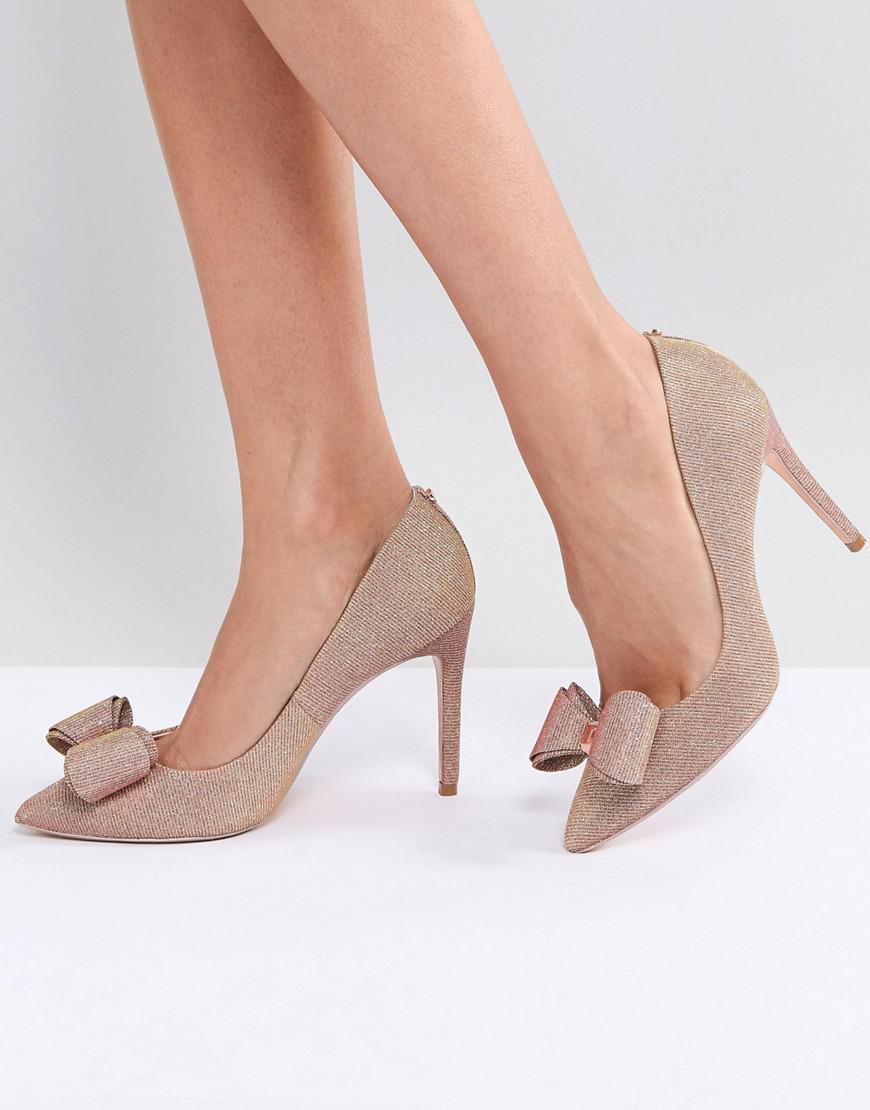 3fd9b1c05ff Lyst - Ted Baker Azeline Rose Gold Sparkling Heeled Court Shoes in ...