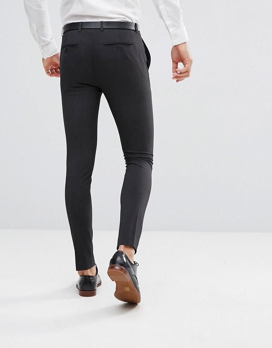 ASOS Synthetic Super Skinny Fit Suit Trousers in Grey (Grey) for Men
