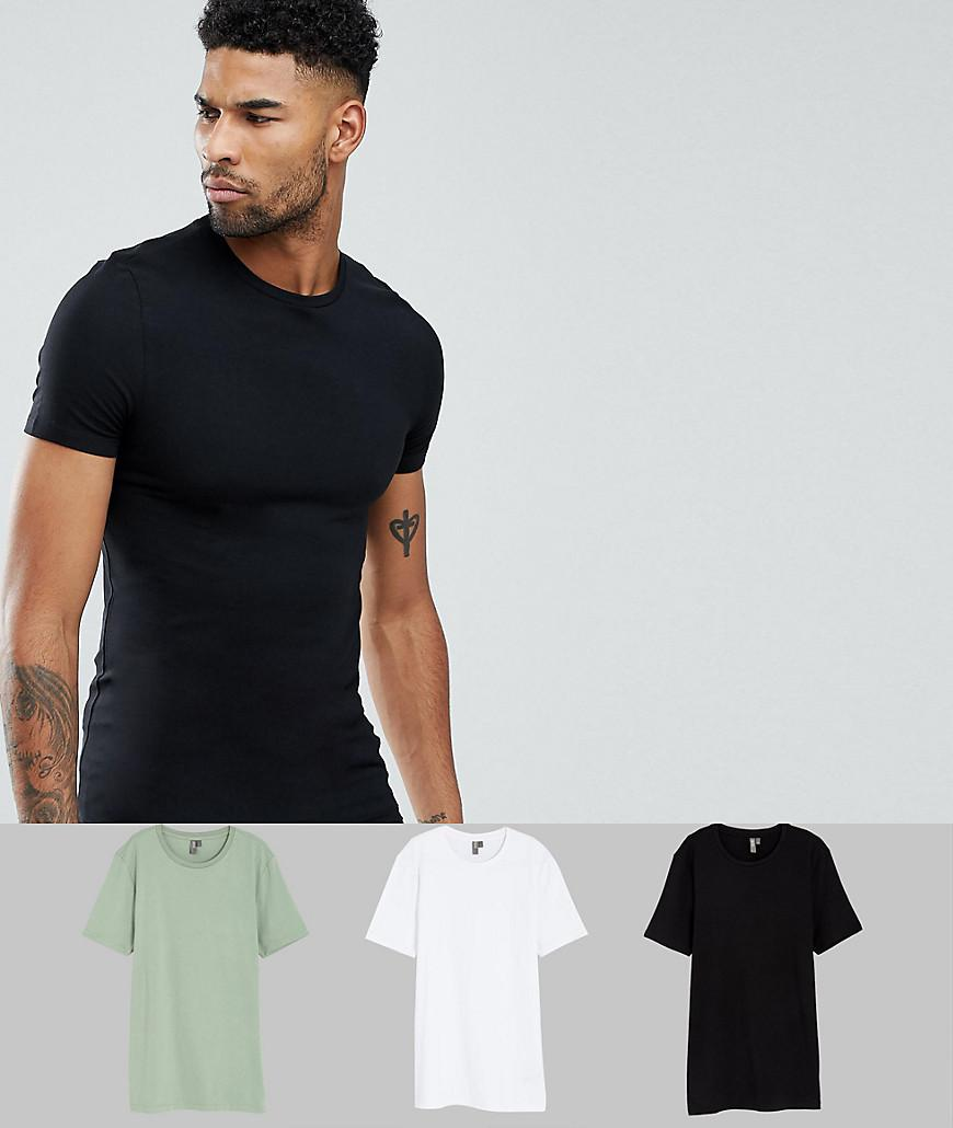 7a91bebc Lyst - ASOS Tall Muscle Fit T-shirt With Crew Neck 3 Pack Save in ...