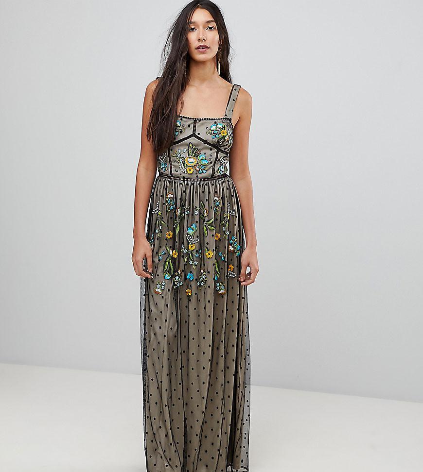 3239ec00cbb Frock and Frill. Women s Black Premium Folk Embroidered Structured Strap Maxi  Dress