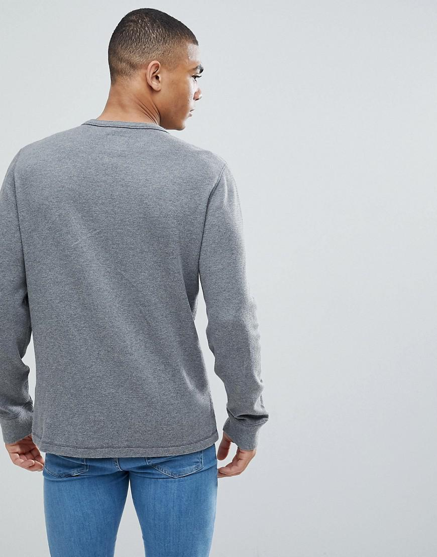 Abercrombie Amp Fitch Waffle Henley Long Sleeve Top In Grey