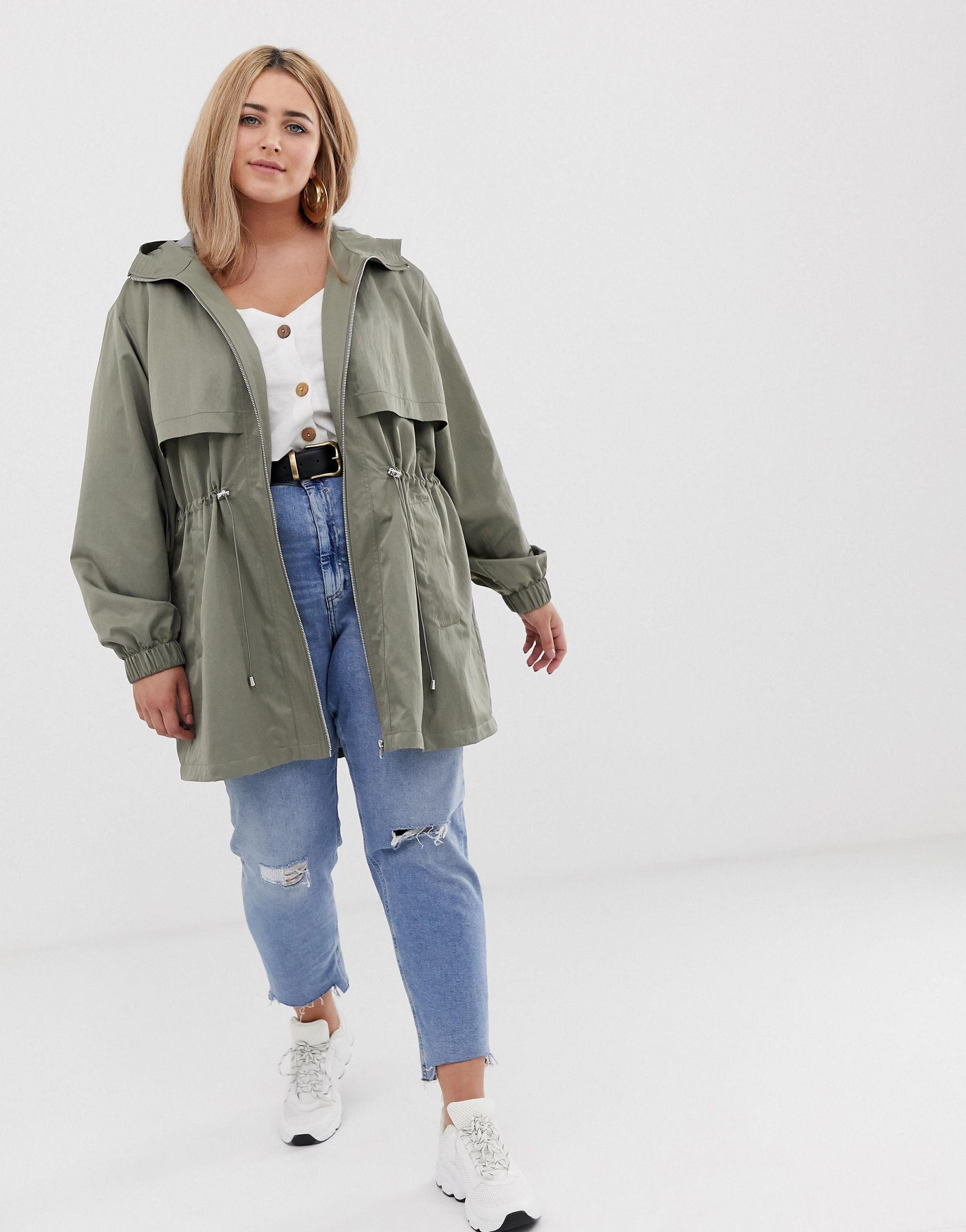 ASOS DESIGN Curve - Parka légère avec doublure en jersey Jean ASOS en coloris Vert