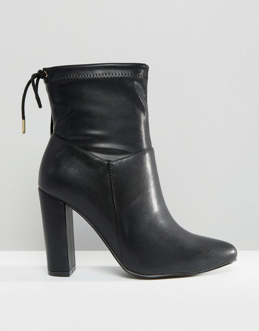 Truffle Collection Leather Heeled Ankle Boot With Tie Back in Black