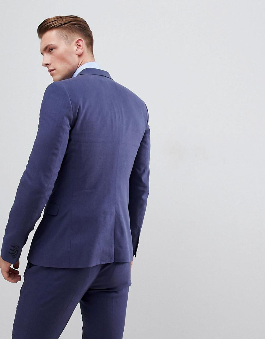 19cdc1411ebb0 Lyst - ASOS Wedding Super Skinny Suit Jacket In Indigo Linen in Blue for Men