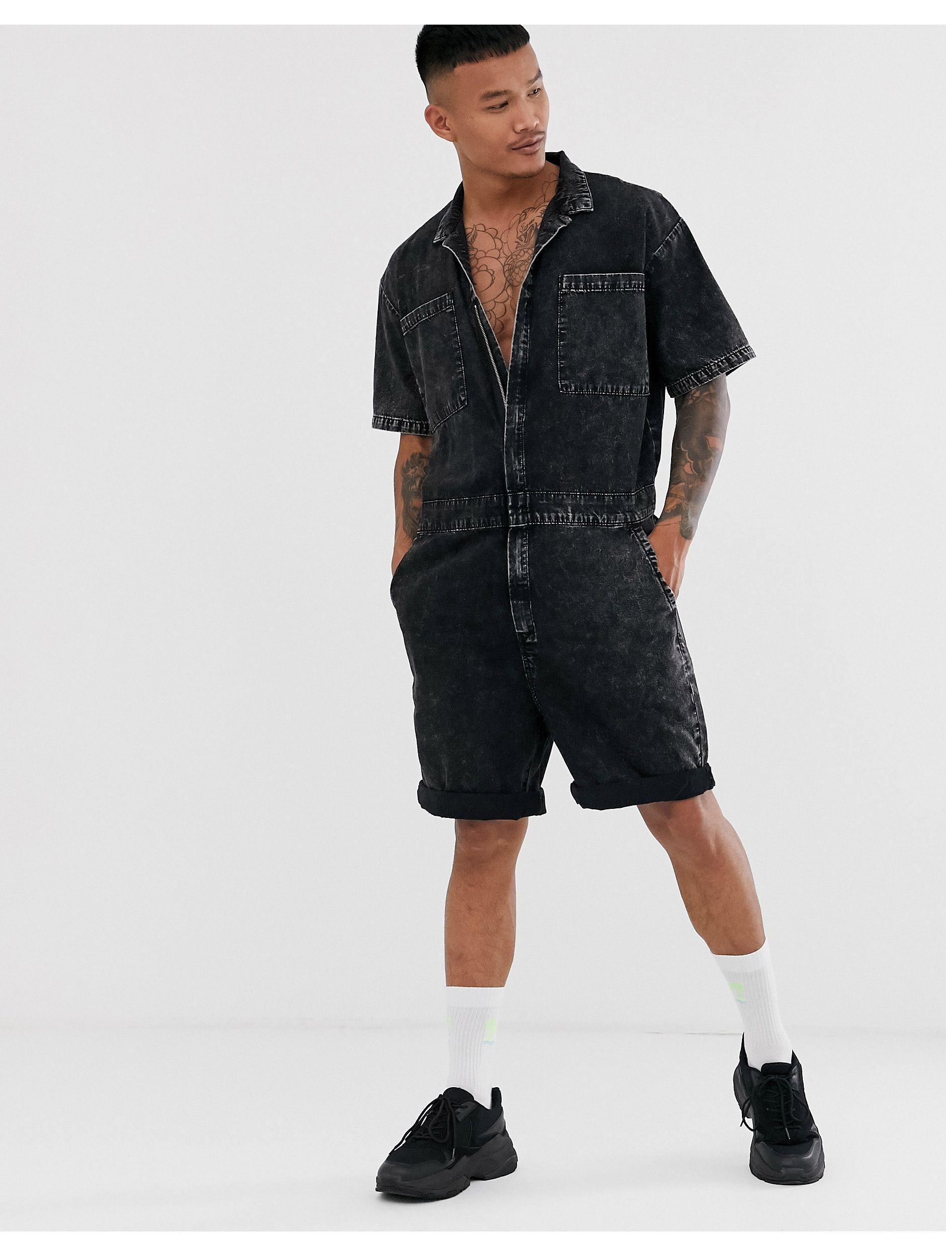 ASOS Denim Boilersuit in het Zwart voor heren