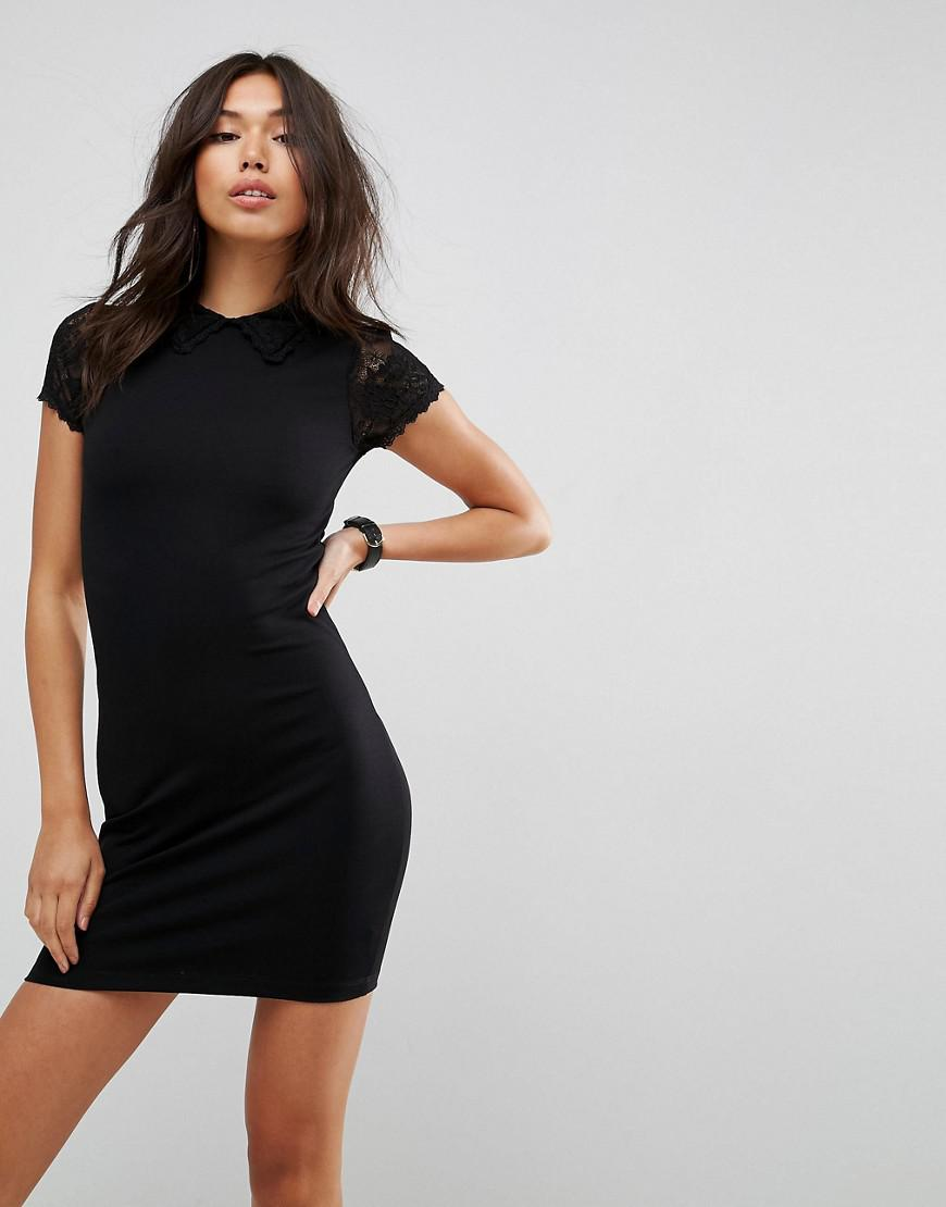 Asos Mini Bodycon Dress With Lace Collar And Sleeves In