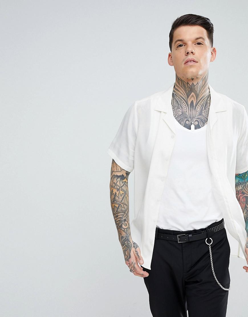 ASOS. Men's White Regular Fit Silk Revere Shirt