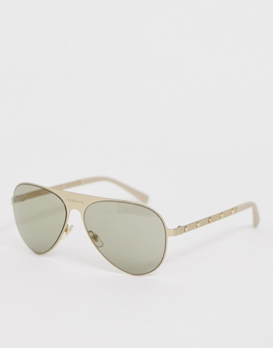 0f8d70736c Versace - Metallic 0ve2189 Aviator Sunglasses for Men - Lyst. View  fullscreen