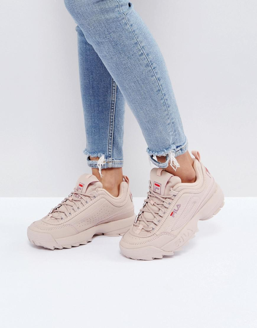 Fila Leather Disruptor Low Trainers In Nude in Beige ...