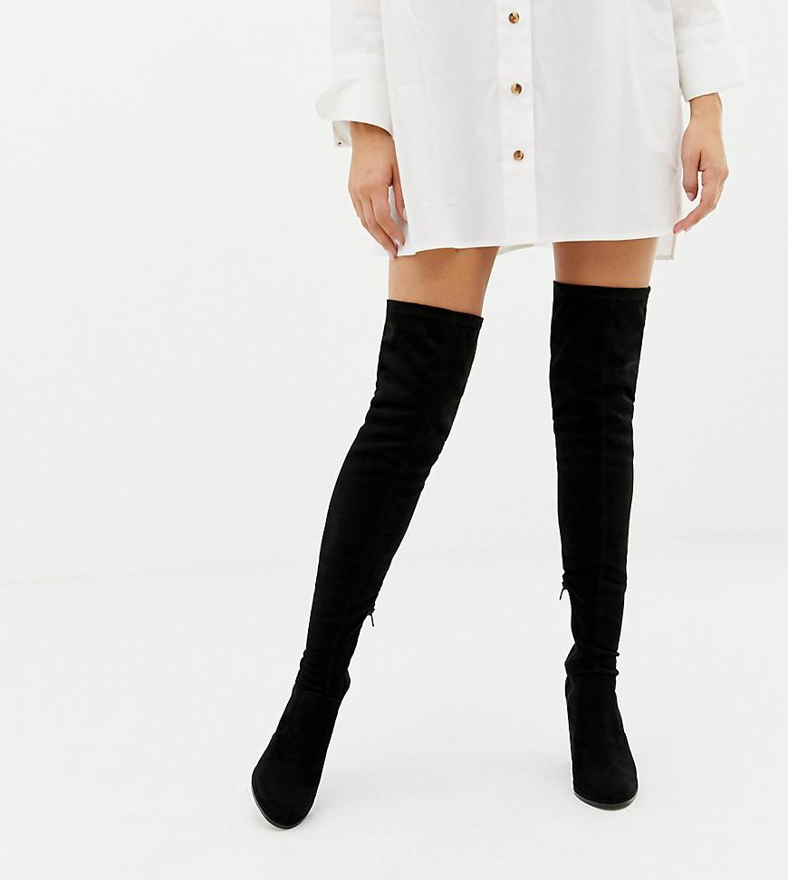32a83a237fc Lyst - ASOS Wide Fit Kassidy Heeled Over The Knee Boots in Black