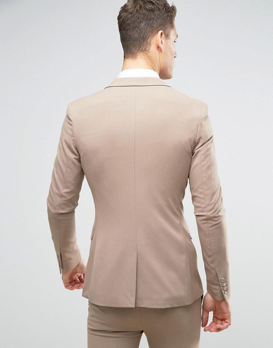 ASOS Synthetic Asos Wedding Super Skinny Suit Jacket In Oatmeal in Beige (Natural) for Men