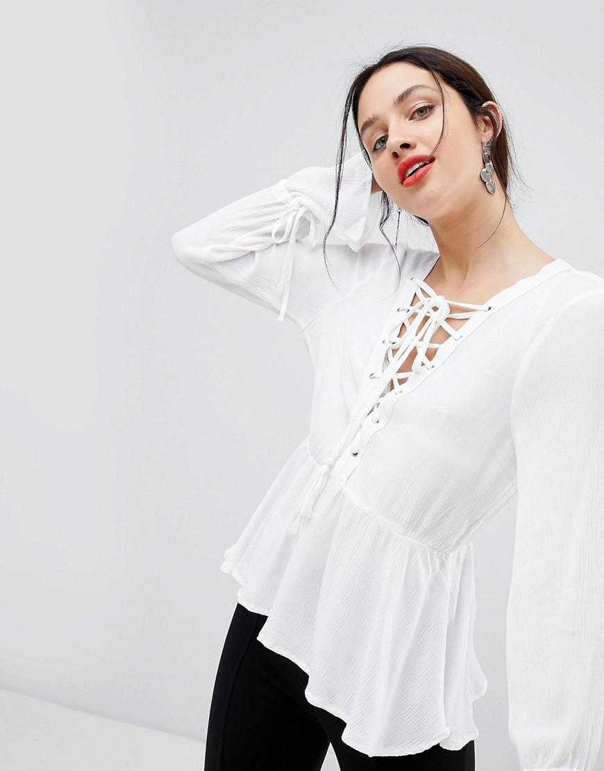 80423ddb85eaf4 Unique21 Peplem Lace Up Shirt in White - Lyst
