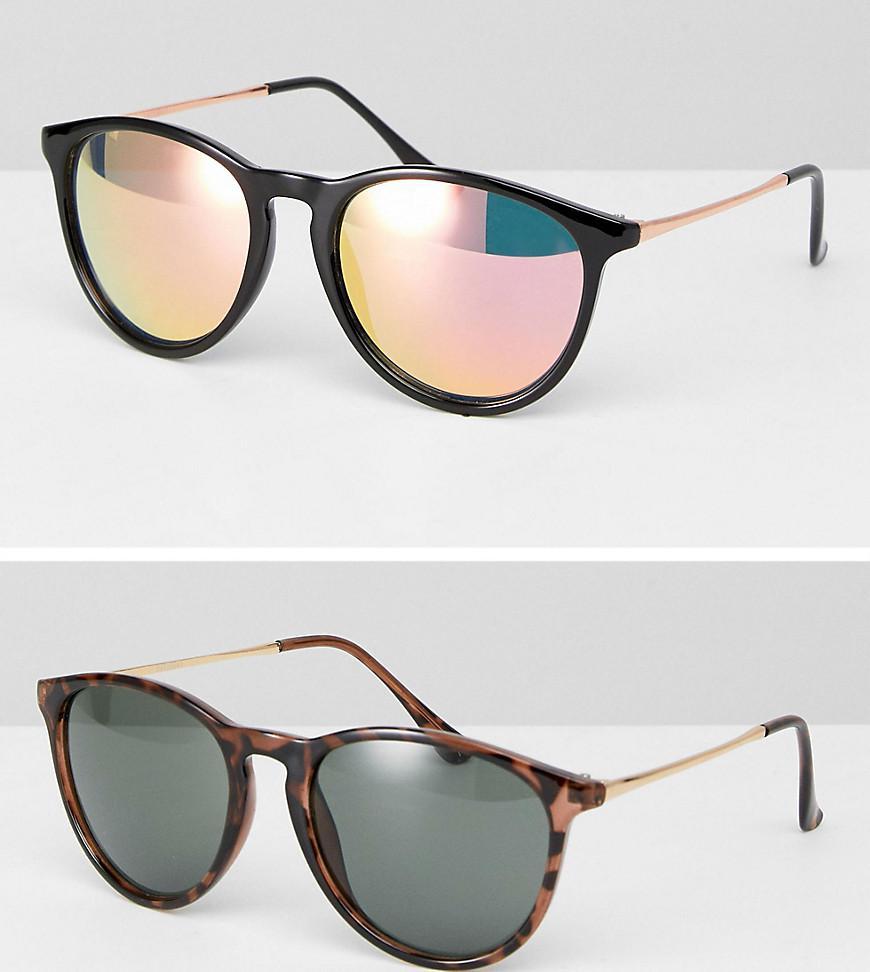 Lyst - Lot de 2 paires de lunettes de soleil rondes fines style rtro ... cb93400e20b0