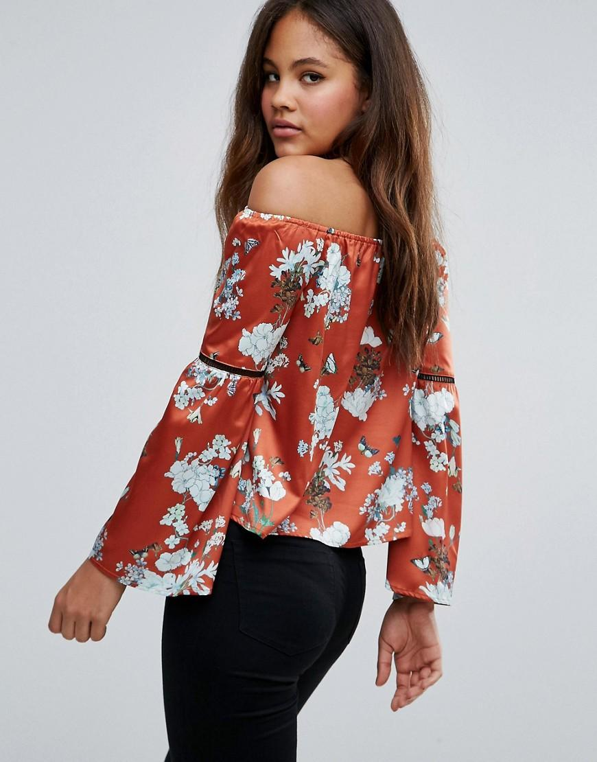 16a446b1905c5f Missguided Exclusive Tall Bardot Floral Print Top in Orange - Lyst
