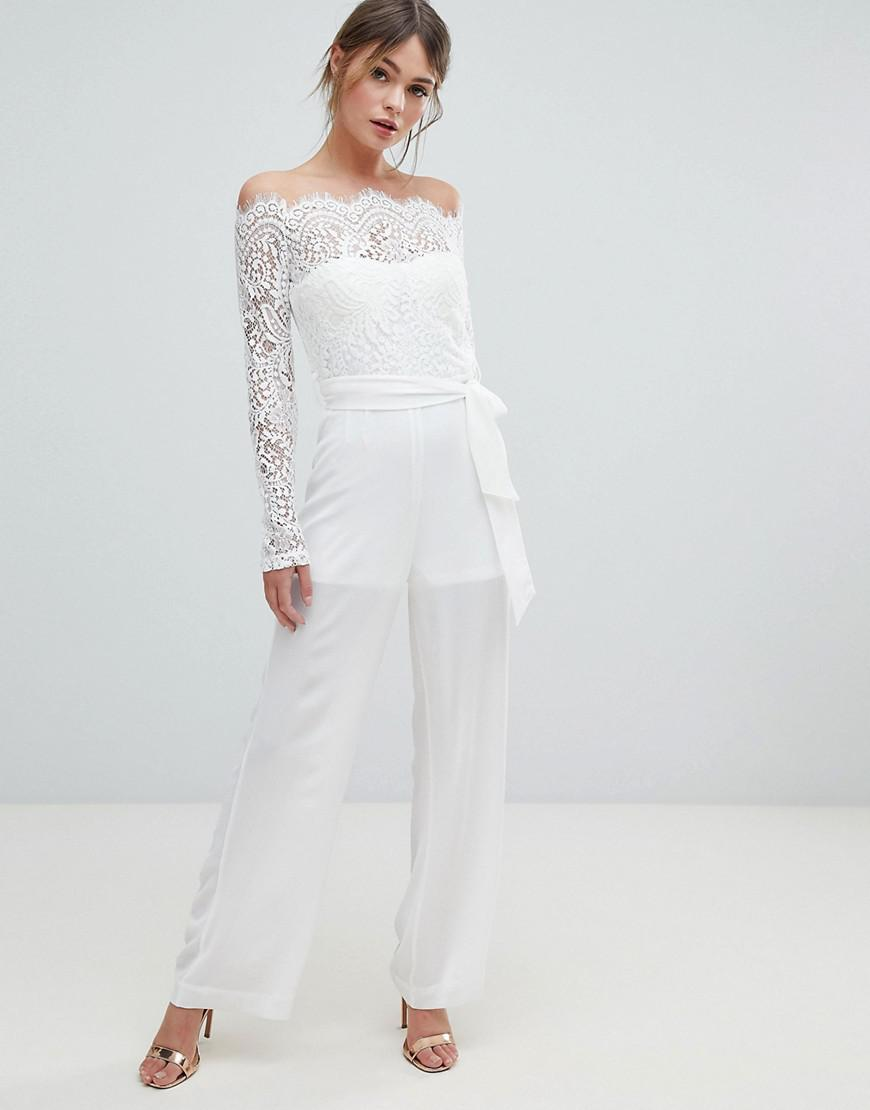 70eb3d5a99a9 Lioness - White Off Shoulder Lace Top Wide Leg Jumpsuit - Lyst. View  fullscreen