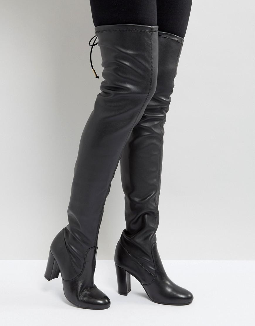 Lyst - Dune Sybil Leather Over Knee Boots In Black-2216