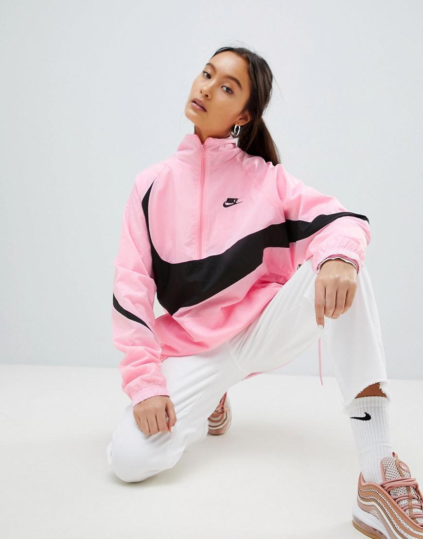 4356bd4d6dfa Nike Vaporwave Oversized Half Zip Track Jacket In Pink With Large ...