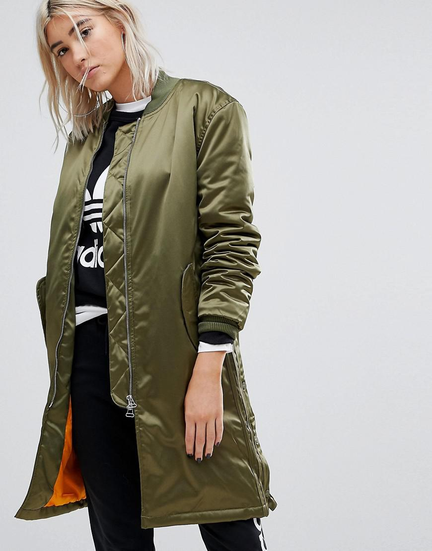 a78c54496d9ee Adidas Originals Green Originals Oversized Longline Bomber Jacket