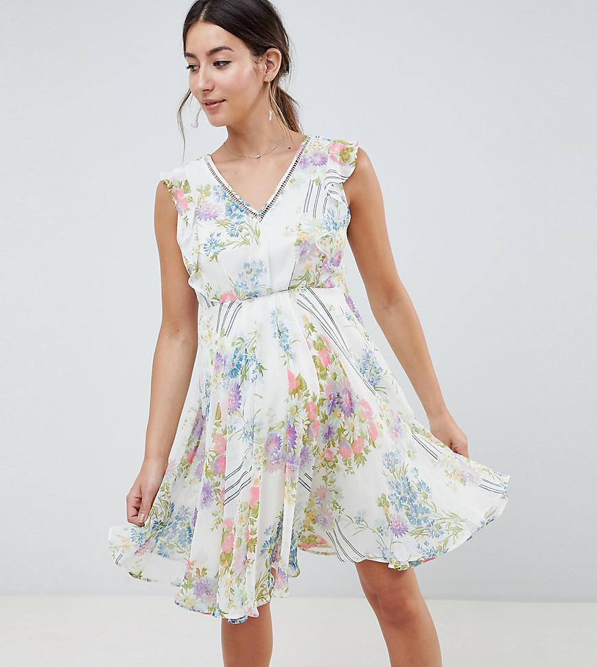 5672e1afb66ff ASOS. Women's Blue Asos Design Maternity Ruffle Sleeve Mini Dress In Floral  ...