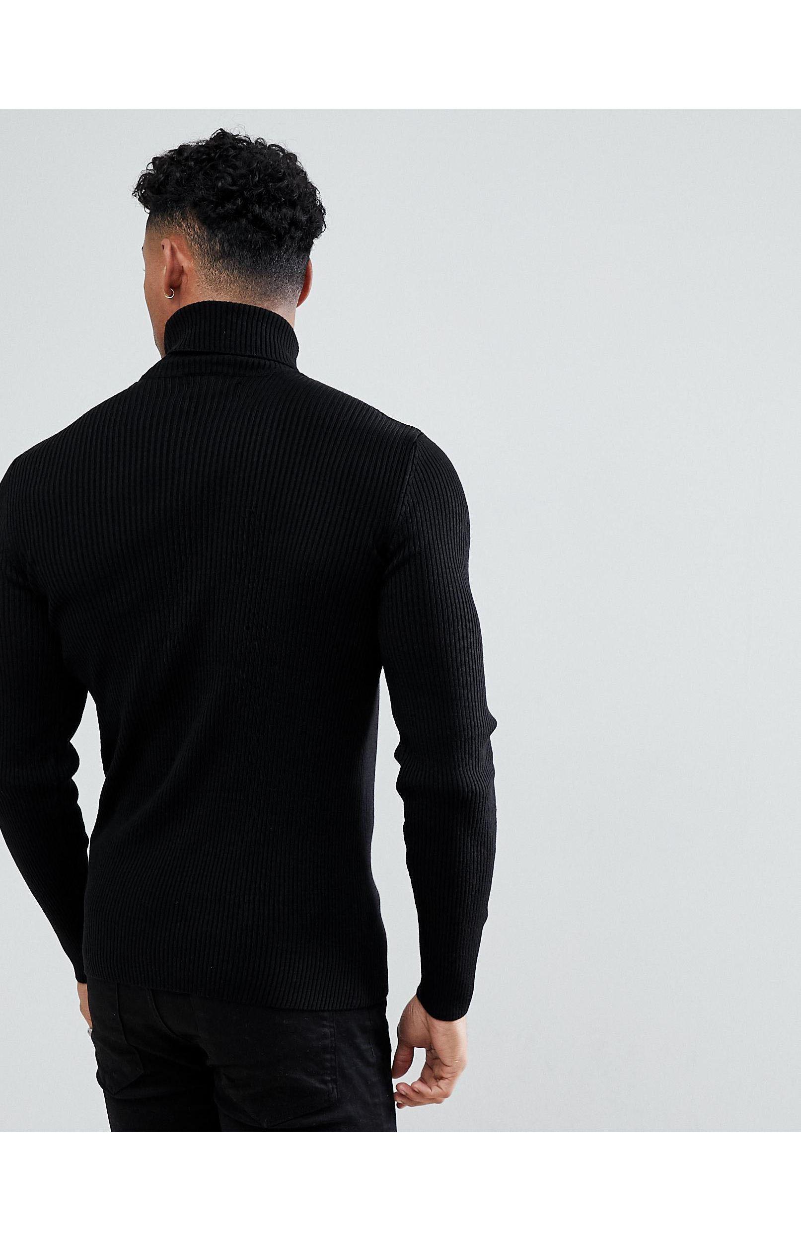 ASOS Denim Muscle Fit Ribbed Roll Neck Jumper in Black for Men