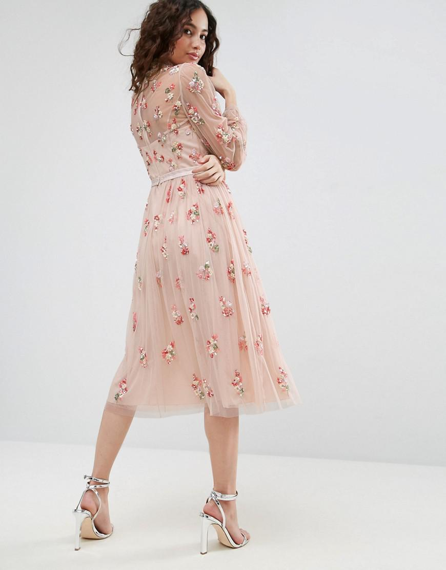 dce4827dc05e Lyst - Needle   Thread Floral Embellished Long Sleeve Dress With Tie ...