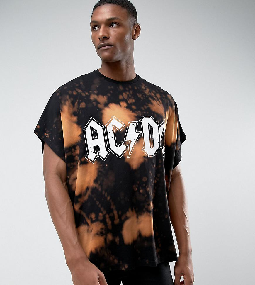 Asos tall acdc extreme oversized band t shirt with bleach for Band t shirt designs for sale