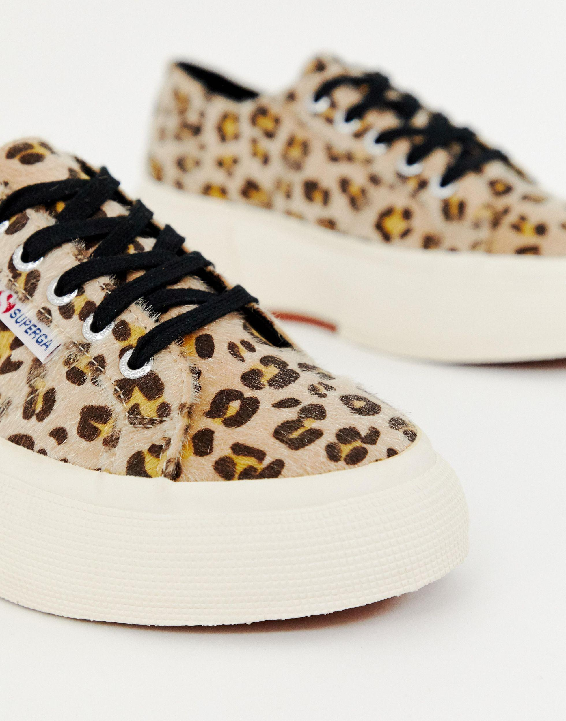 Leopard Faux Pony Wedge Trainers