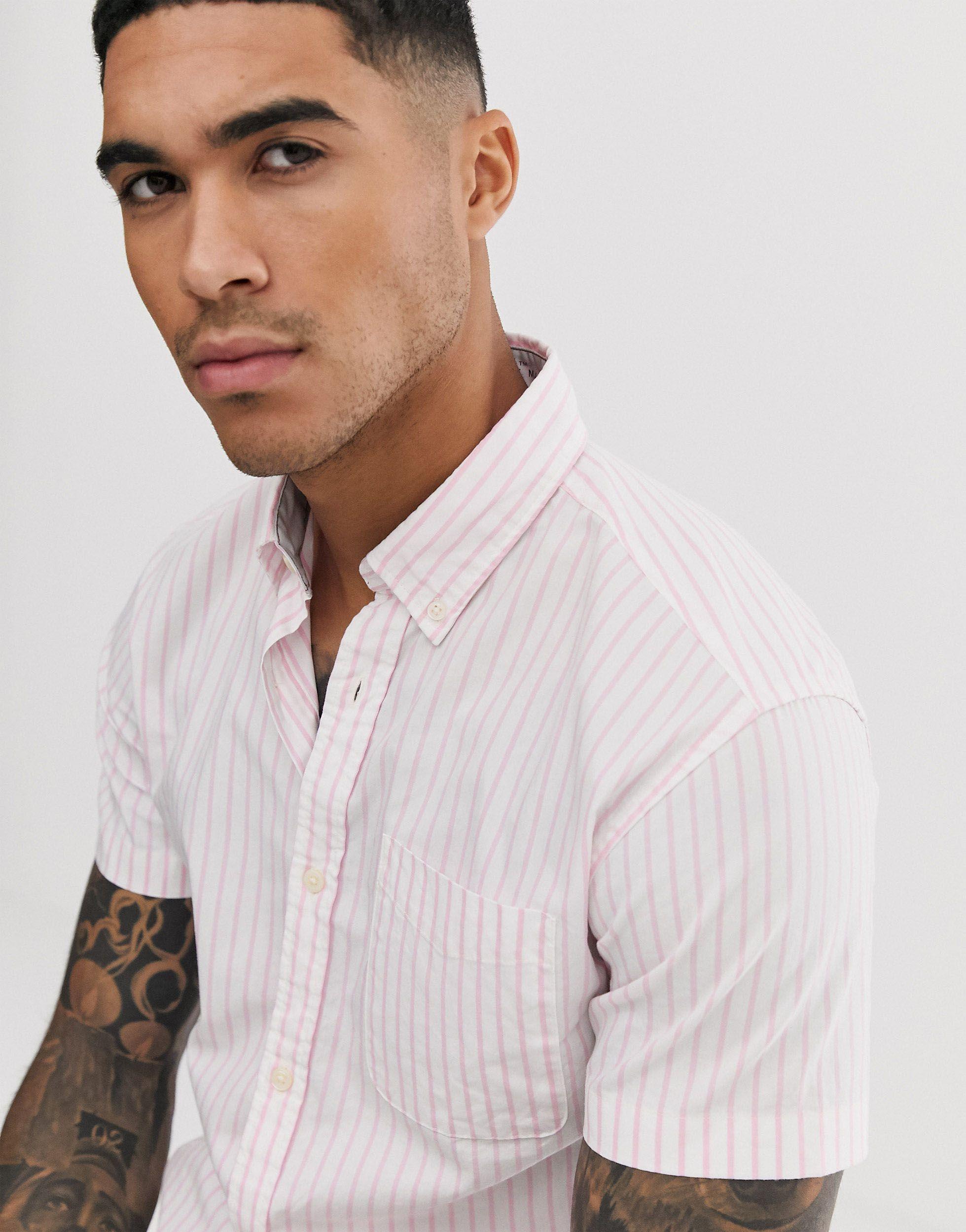 Jack & Jones Denim Slim-fit Overhemd Met Korte Mouwen En Roze Strepen in het Roze voor heren