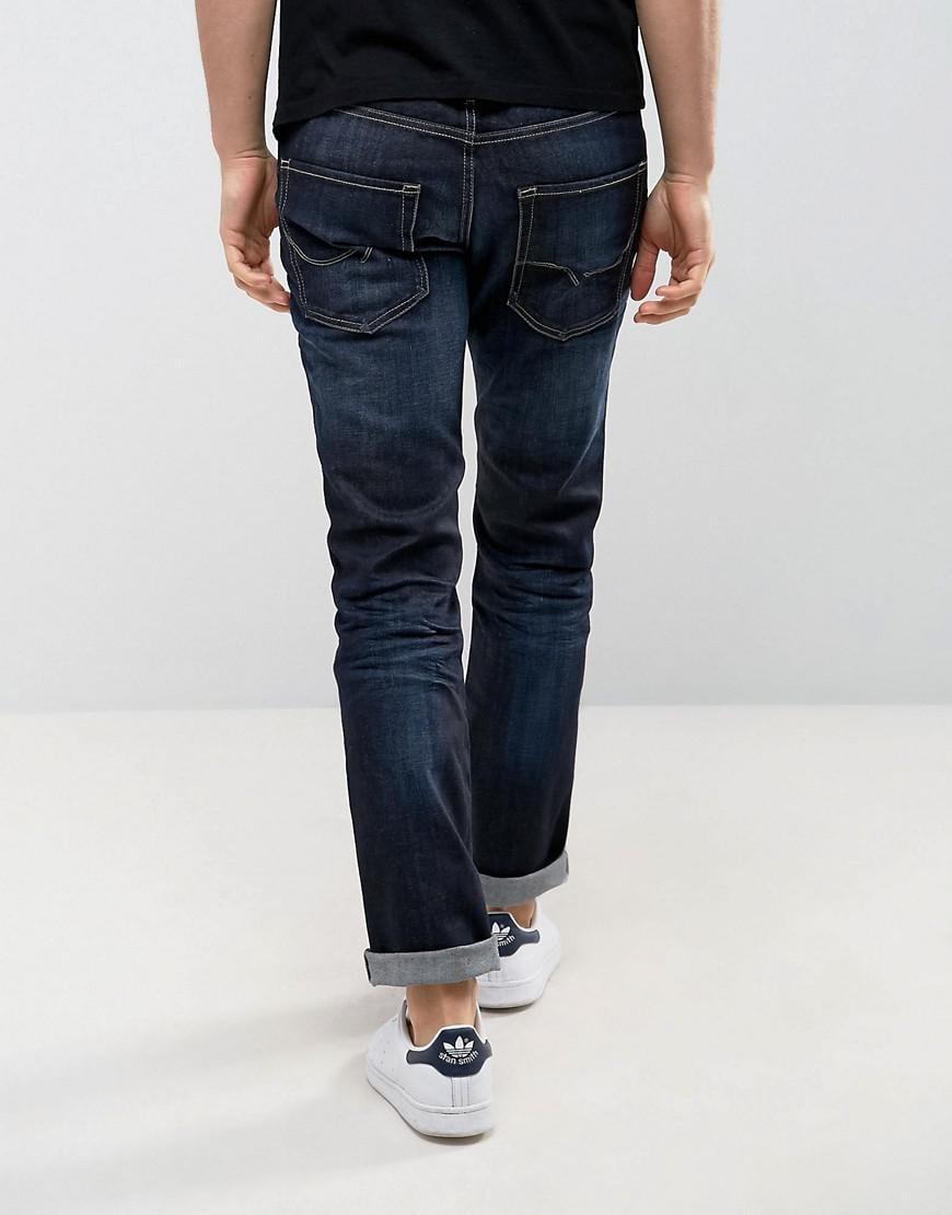 Jack & Jones Denim Intelligence Dark Wash Jeans In Regular Fit in Blue for Men