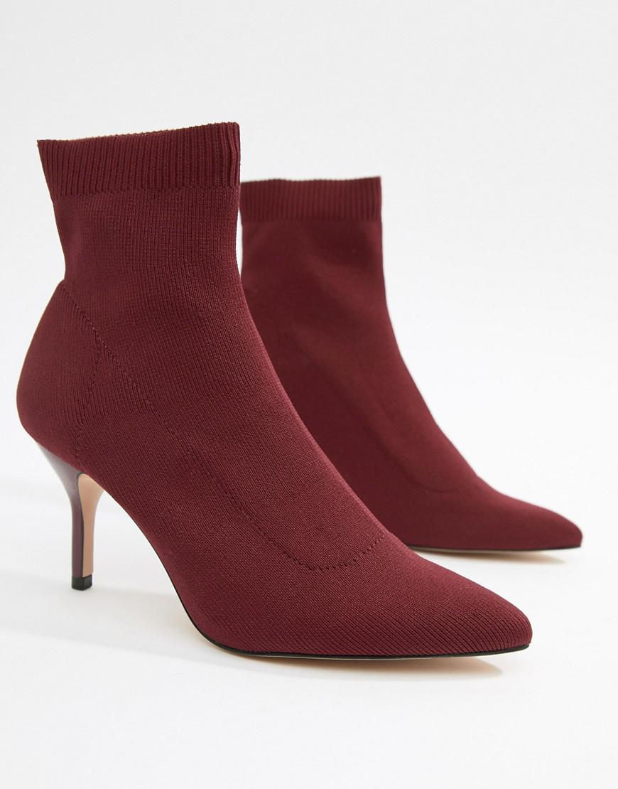 400f6fffb96 Stradivarius Red Heeled Ankle Boot In Burgundy