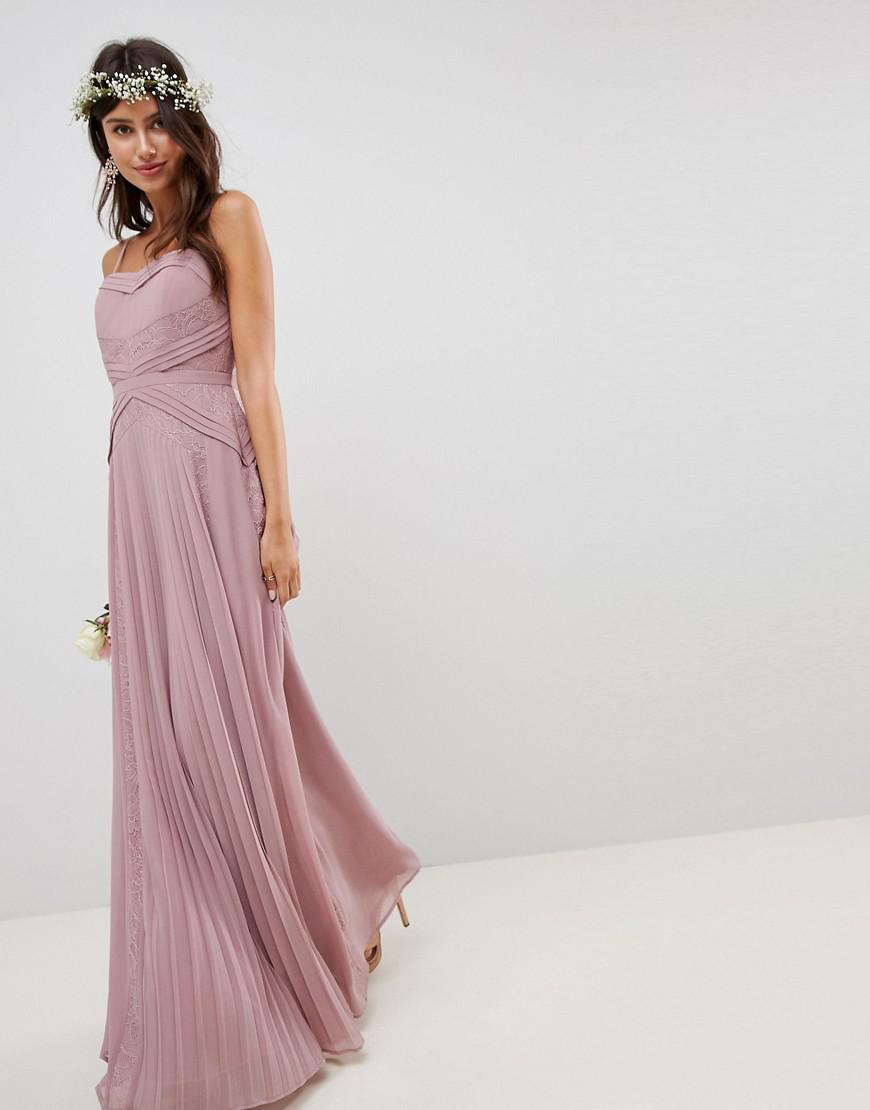 f3d31171dce1 ASOS - Pink Pleated Paneled Cami Maxi Dress With Lace Inserts - Lyst. View  fullscreen