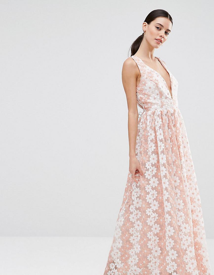 c0c8a7dd94b Lyst - True Decadence Premium Floral Lace Plunge Maxi Dress in Pink