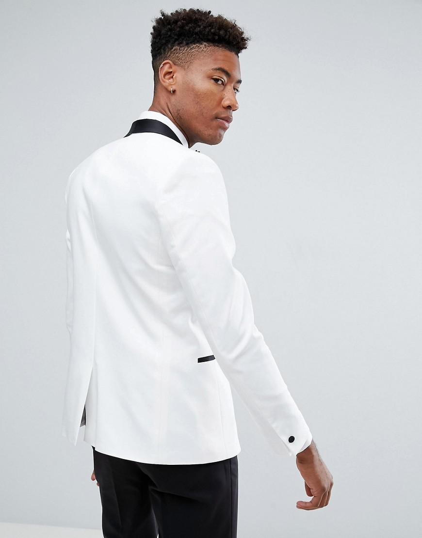 ASOS Denim Tall Slim Tuxedo Suit Jacket In White With Black Contrast Lapel for Men