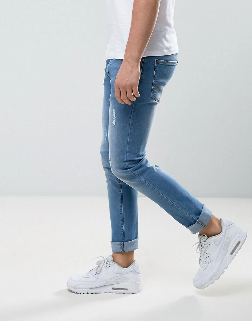 Loyalty & Faith Denim Loyalty And Faith Slim Fit Jeans With Abbriasions In Light Wash in Blue for Men