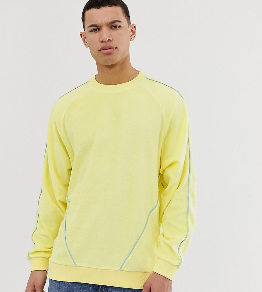275a9c2712659b ASOS. Men s Tall Oversized Sweatshirt In Towelling With Piping In Yellow