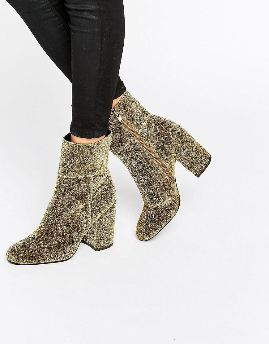03f08afbc10 Steve Madden Metallic Goldie Gold Sock Heeled Ankle Boots