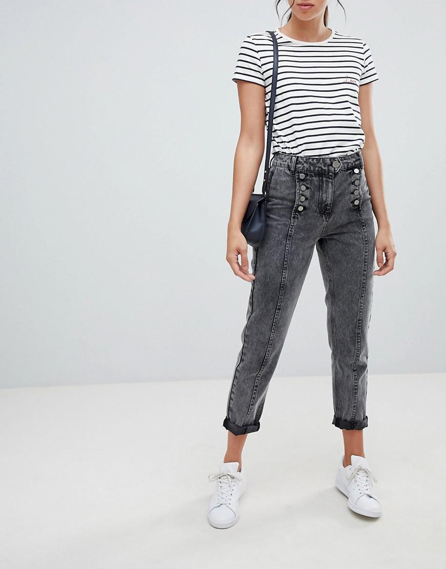 d21711560e8 Lyst - ASOS Ritson Rigid Mom Jeans In Washed Black With Matelot ...