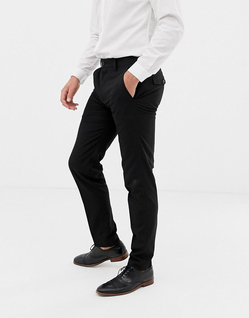 9bfaaf0ebc48 French Connection - Black Plain Skinny Fit Trousers for Men - Lyst. View  fullscreen