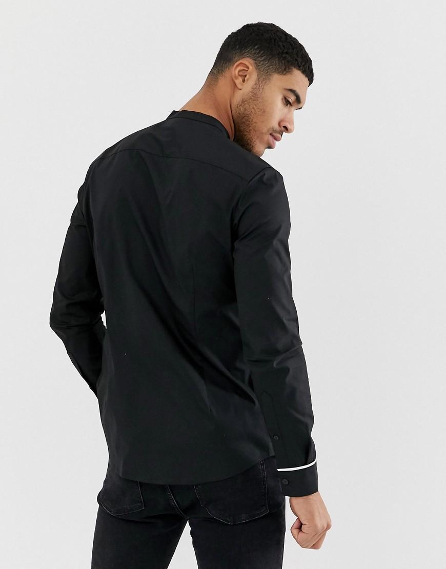 ASOS Smal Overhemd Met Chinese Kraag En Contrasterende Bies in het Zwart voor heren