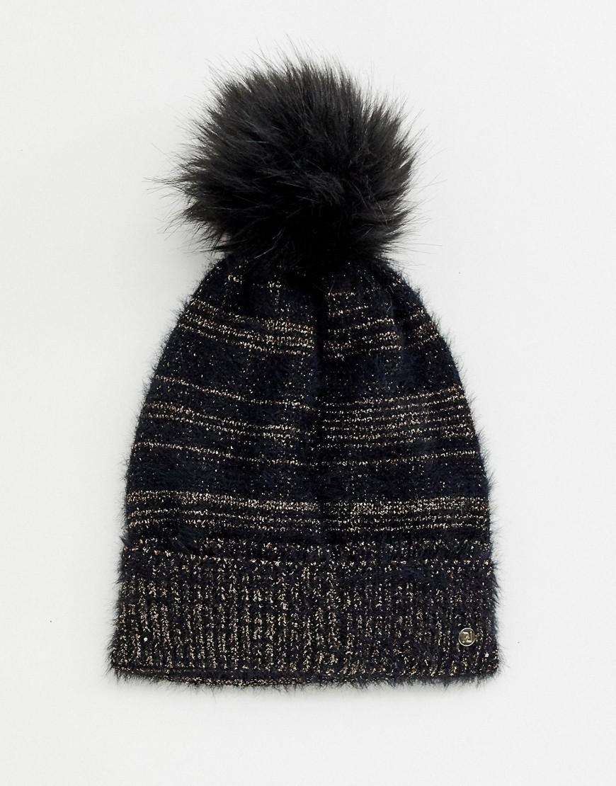 bc1e2e17e29 River Island Beanie Hat With Pom Detail In Black in Black - Lyst