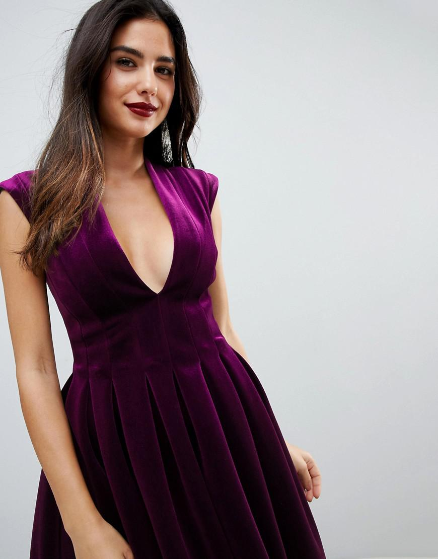 Lyst - ASOS Deep Plunge Bonded Velvet Prom Midi Dress in Purple 0016c0e15