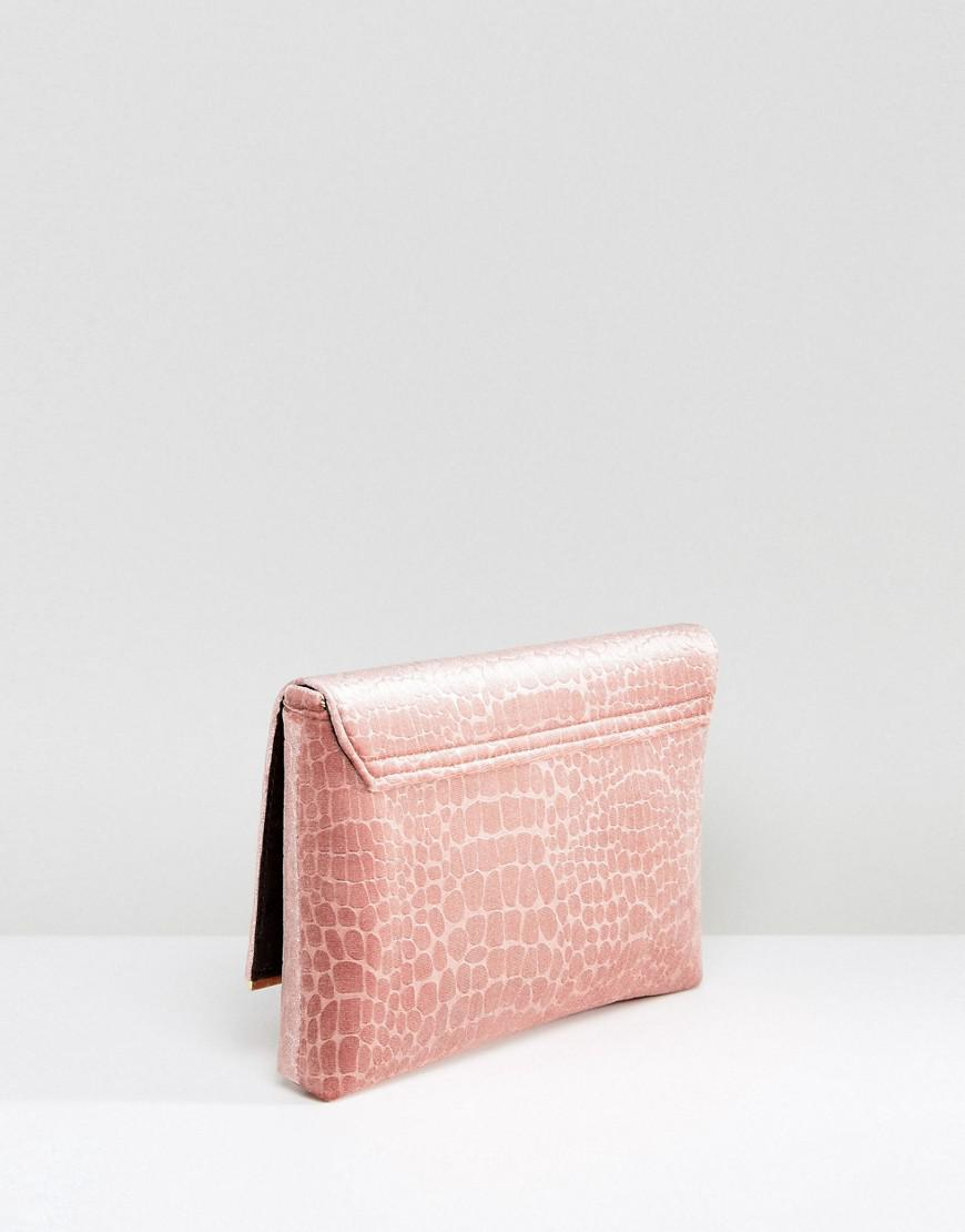 Dune Velvet Clutch Bag With Crossbody Strap in Pink